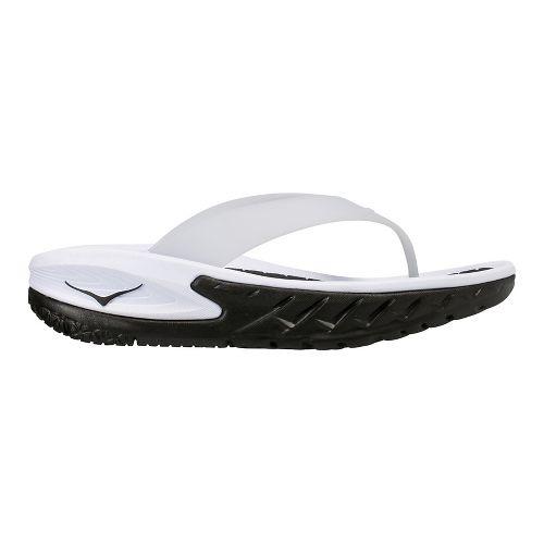 Mens Hoka One One Ora Recovery Flip Sandals Shoe - Black/White 10