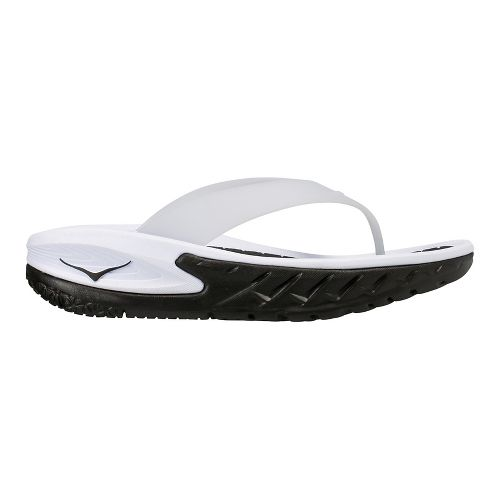 Mens Hoka One One Ora Recovery Flip Sandals Shoe - Black/White 12