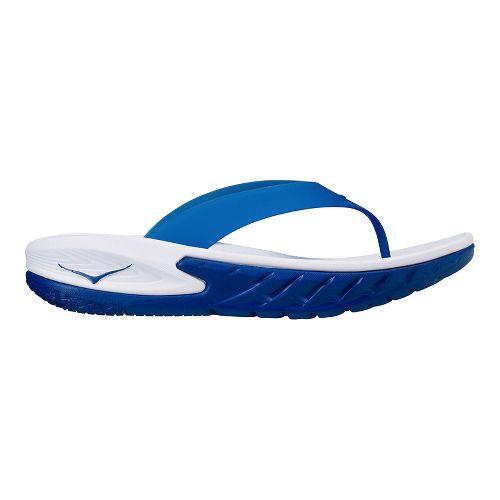 Mens Hoka One One Ora Recovery Flip Sandals Shoe - White/Blue 8