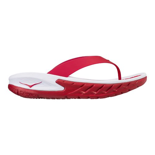 Mens Hoka One One Ora Recovery Flip Sandals Shoe - Red/White 12
