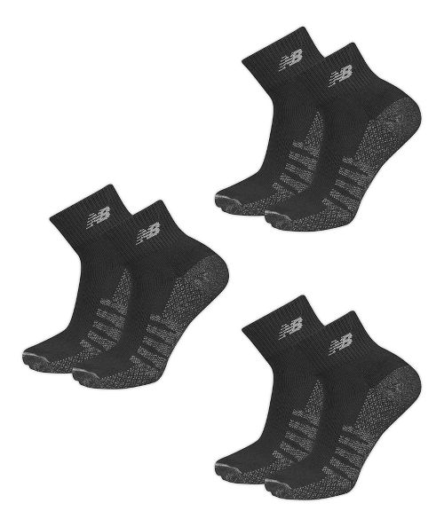 Mens New Balance Technical Elite Coolmax Quarter 6 Pack Socks - Black XL