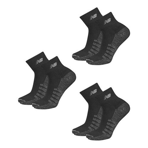 Mens New Balance Technical Elite Coolmax Quarter 6 Pack Socks - Black M