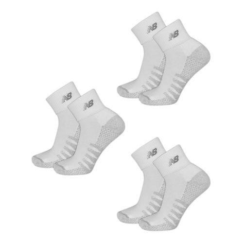 Mens New Balance Technical Elite Coolmax Quarter 6 Pack Socks - White M