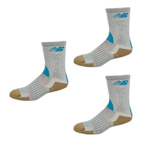 New Balance Technical Elite NBx Trail Crew 3 Pack Socks - Gray/Blue L