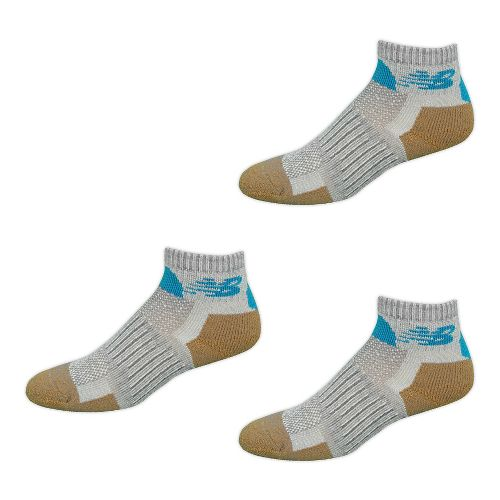 New Balance Technical Elite NBX Trail Quarter 3 Pack Socks - Grey/Blue M