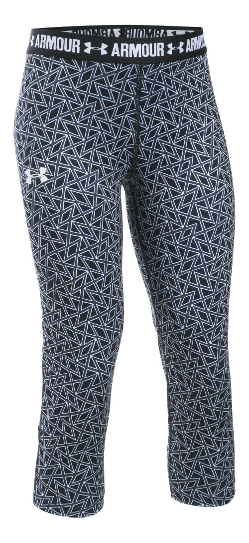 Under Armour Girls Heatgear Printed Capri Pants - Black/Black YL