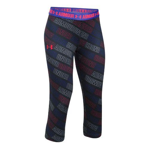Under Armour Girls Heatgear Printed Capri Pants - Black/Constellation YL