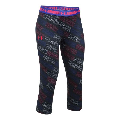 Under Armour Girls Heatgear Printed Capri Pants - Black/Constellation YXL