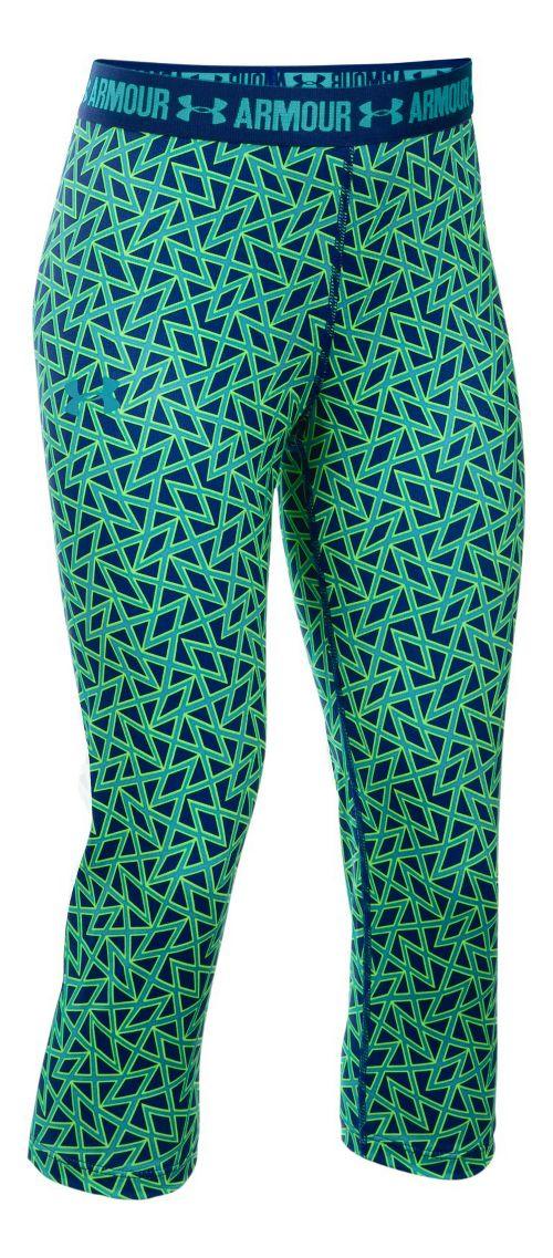 Under Armour Girls Heatgear Printed Capri Pants - Caspian YL