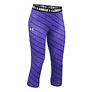 Under Armour Girls Heatgear Printed Capri Pants - Purple/Black YM
