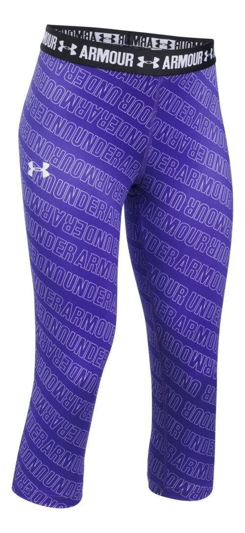 Under Armour Girls Heatgear Printed Capri Pants - Purple/Black YM