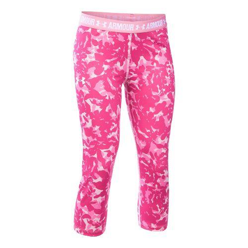 Under Armour Girls Heatgear Printed Capri Pants - Pink YXL