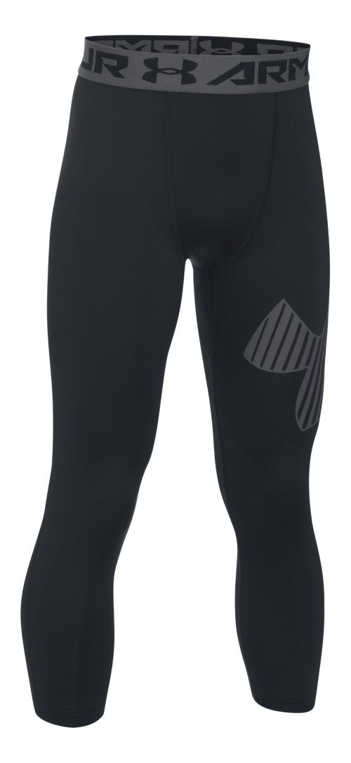 Under Armour Boys 3/4 Logo Legging Capris Pants - Black/Graphite YL