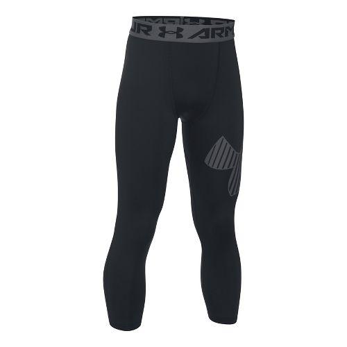Under Armour Boys 3/4 Logo Legging Capris Pants - Black/Graphite YXS