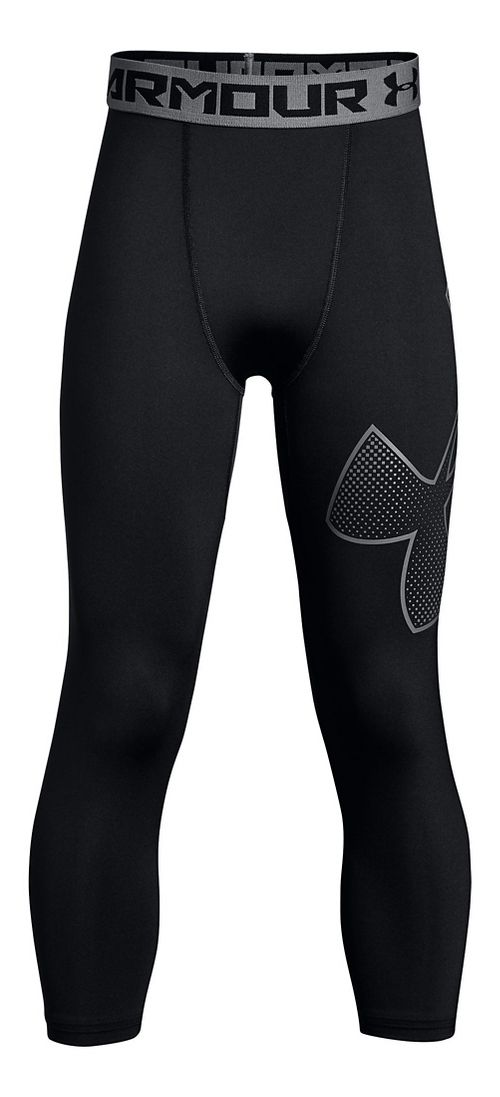 Under Armour Boys 3/4 Logo Legging Capris Pants - Black/Graphite/Black YM