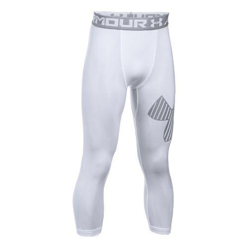 Under Armour Boys 3/4 Logo Legging Capris Pants - White/Overcast Grey YXS