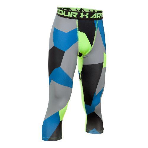 Under Armour Boys 3/4 Logo Printed Legging Capris Pants - Quirky Lime YXL
