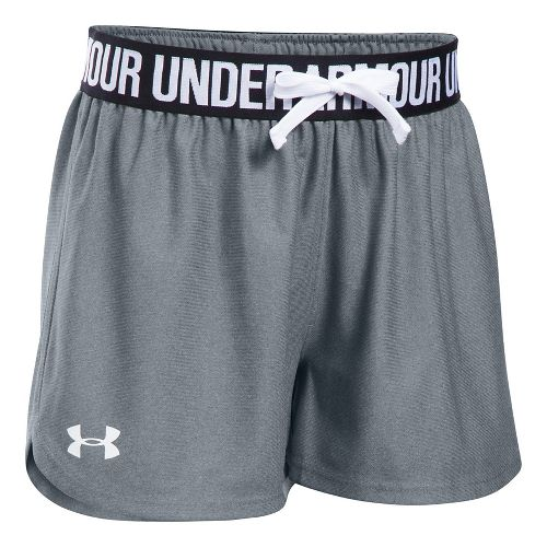 Under Armour Girls Play Up Unlined Shorts - Steel/Black YM