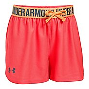Under Armour Girls Play Up Unlined Shorts - Red/Orange YS