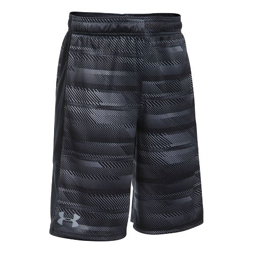 Under Armour Boys Stunt Printed Unlined Shorts - Black/Black/Steel YXL