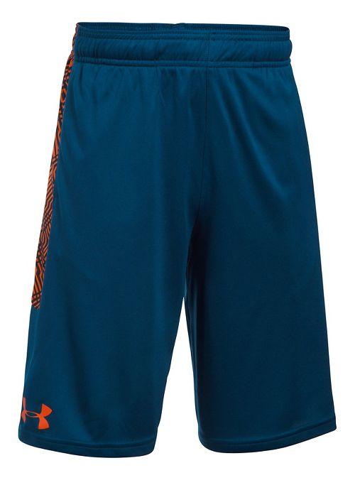Under Armour Boys Stunt Printed Unlined Shorts - Blackout Navy/Orange YM