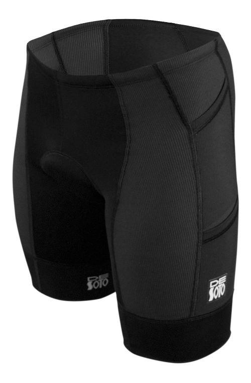 Mens De Soto Forza Tri 4-Pockets Cycling Shorts - Black/Black S