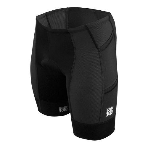 Mens De Soto Forza Tri 4-Pockets Cycling Shorts - Black/Black XXL
