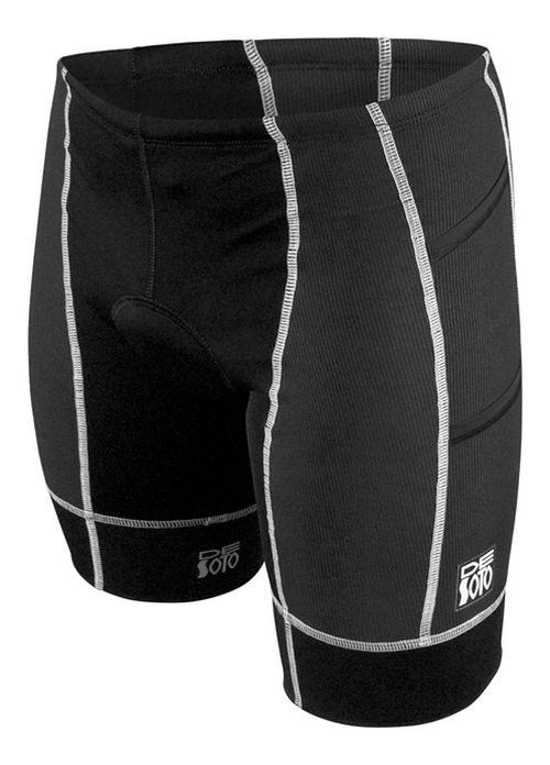 Mens De Soto Forza Tri 4-Pockets Cycling Shorts - Black/White M