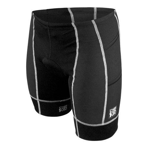 Mens De Soto Forza Tri 4-Pockets Cycling Shorts - Black/White S