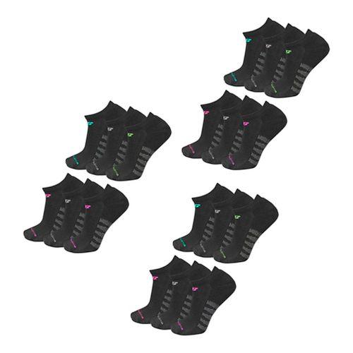Womens New Balance Core No Show 18 Pack Socks - Black M