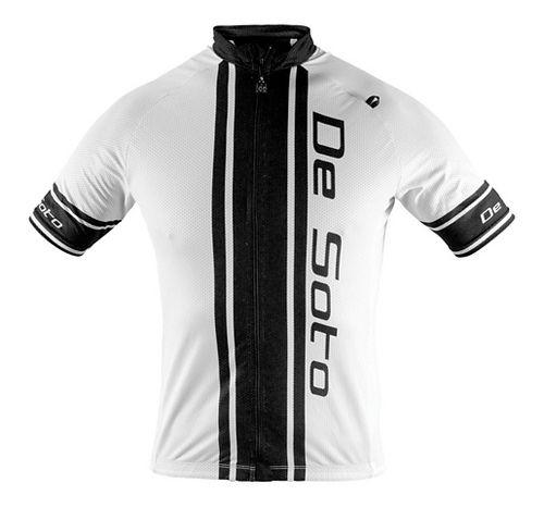 Mens De Soto Skin Cooler Bike Jersey Short Sleeve Technical Tops - White/Black Stripe XL