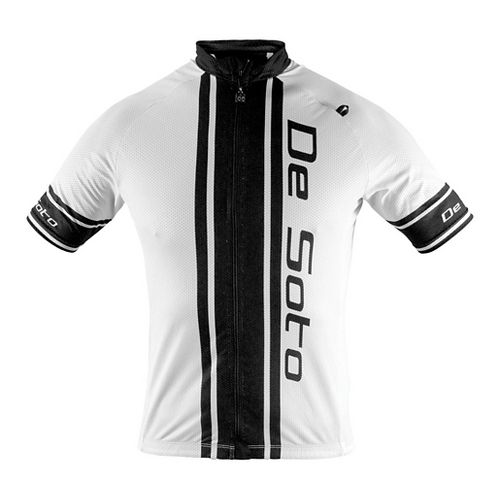 Mens De Soto Skin Cooler Bike Jersey Short Sleeve Technical Tops - White/Black Stripe S