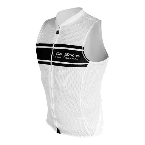 Mens De Soto Skin Cooler Full Zip Tri Sleeveless & Tank Tops Technical Tops - White/Black Stripe S