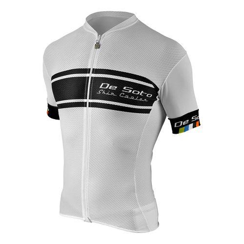 Mens De Soto Skin Cooler Full Zip Tri Top - Sleeved Short Sleeve Technical Tops - White/Black ...