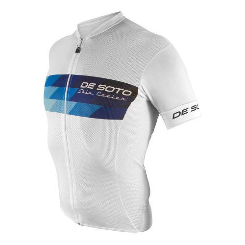 Mens De Soto Skin Cooler Full Zip Tri Top - Sleeved Short Sleeve Technical Tops - White/Blue ...