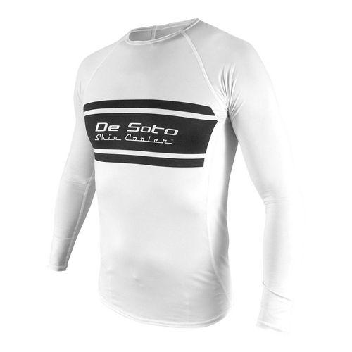 Mens De Soto Skin Cooler Long Sleeve Technical Tops - White/Black Stripe M