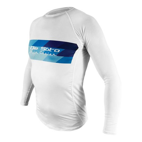 Mens De Soto Skin Cooler Long Sleeve Technical Tops - White/Blue Stripe L