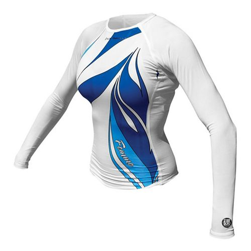 Womens De Soto Skin Cooler Long Sleeve Technical Tops - White/Turquoise M
