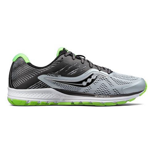 Mens Saucony Ride 10 Running Shoe - Grey/Lime 8.5