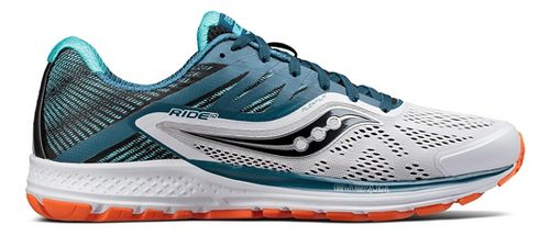 Mens Saucony Ride 10 Running Shoe - Teal/White 8