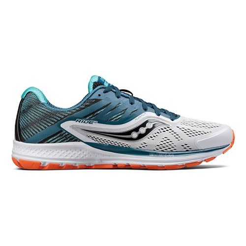 Mens Saucony Ride 10 Running Shoe - Teal/White 9.5