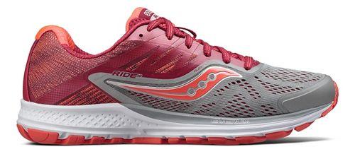 Womens Saucony Ride 10 Running Shoe - Grey/Berry 8