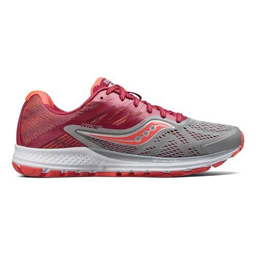 Womens Saucony Ride 10 Running Shoe - Grey/Berry 7.5