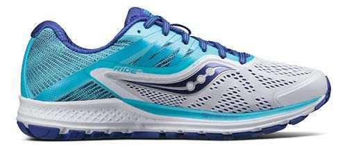 Womens Saucony Ride 10 Running Shoe - Blue/White 10.5