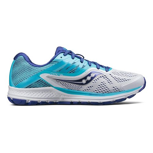 Womens Saucony Ride 10 Running Shoe - Blue/White 9