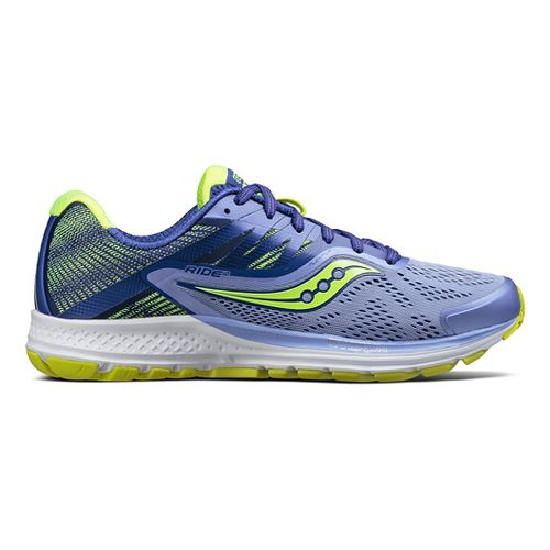 Womens Saucony Ride 10 Running Shoe - Purple/Citron 7.5