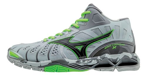 Mens Mizuno Wave Tornado X - Mid Court Shoe - Grey/Green Gecko 12.5