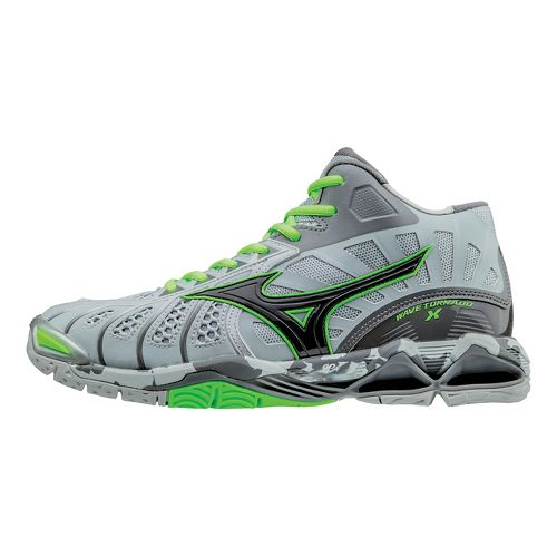Mens Mizuno Wave Tornado X - Mid Court Shoe - Grey/Green Gecko 12.5