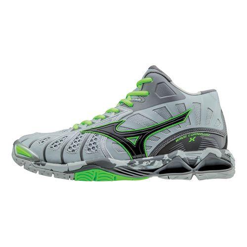 Mens Mizuno Wave Tornado X - Mid Court Shoe - Grey/Green Gecko 8