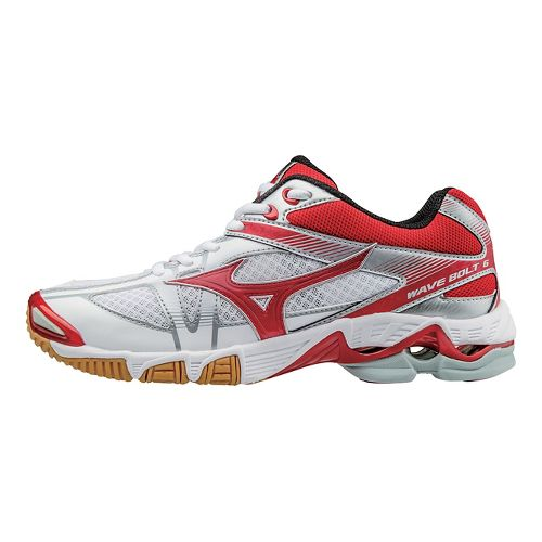 Womens Mizuno Wave Bolt 6 Court Shoe - White/Red 7.5